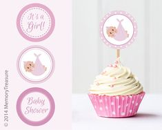 Girl Baby Shower Cupcake Toppers Printable Baby by MemoryTreasure