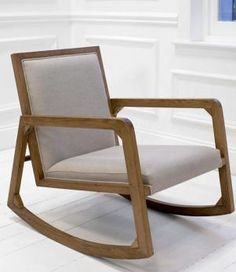 The Bazajet rocking chair is a modern and stylish wooden rocking chair with an angular design.