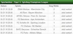 Unsere Sportwetten-Tipps zum 3. Spieltag der Champions League. Erfolgreich wetten! www.wettcheck24.com