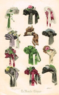 Le Monde Elegant – Plate # 5 – Hand Colored Lithograph – – Historical hats and hair – frech Victorian Hats, Victorian Fashion, Vintage Fashion, French Fashion, 1800s Fashion, Historical Costume, Historical Clothing, Vintage Outfits, Litho Print