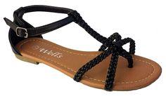 Elegant Women's Fashion Nice Braided X-Strap Gladiator Thong Flat Sandals >>> Visit the image link more details.