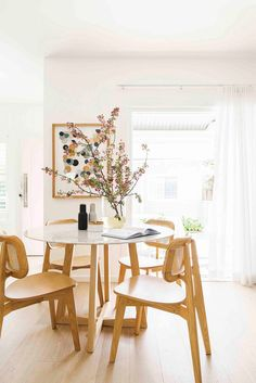 Scandi-style oval dining table and chairs. Kitchen Benches, Home And Living, Decor, Oval Table Dining, Coastal Cottage Style, Home, Dining Table Chairs, Simple Decor, Home Decor