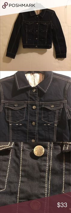 GUESS Women's navy blue denim jacket ITEM IS NEW WITHOUT TAGS. JACKET HAS BEEN IN STORAGE FOR QUITE SOME TIME. IT'S BRAND NEW WITHOUT TAGS. 100% Cotton. Please check all pictures Guess Jackets & Coats Jean Jackets