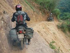 A nifty little idea for you and Steve? This is a photo of adventure biking in Vietnam. But I'm sure you could find a closer scary mountain! Enduro Motorcycle, Motorcycle Travel, Motorcycle Touring, Motorcycle Adventure, Adventure Tours, Adventure Travel, Dual Sport, Survival, Vintage Motorcycles