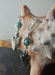Turquoise and Silver Earrings Artisan Jewelry by DianesAddiction