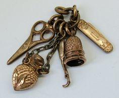 Edwardian c1910 Rose Gold Plated Miniature Chatelaine Charm