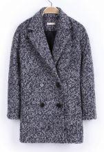 Light Grey Notch Lapel Double Breasted Coat $72.9