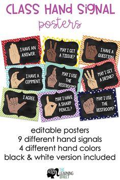 Hand Signals for Classroom Management Classroom Rules, First Grade Classroom, Classroom Behavior, Music Classroom, Classroom Hand Signals, Classroom Bathroom, Classroom Ideas, Classroom Organisation, Future Classroom