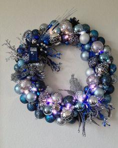 Doctor Who Tardis Christmas Ornament Wreath by GeekWithAGlueGun