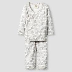 Kate Quinn Organics Baby Long Sleeve Kimono Top & Bottom Set - Brown : Target