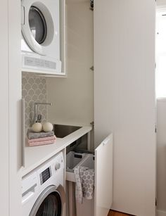 This cupboard laundry achieves style and practicality in a small space A small space renovation gave this family of five a stylish cupboard laundry that met all their needs in terms of storage, bench space and functionality. Laundry Cupboard, Small Cupboard, Laundry Room Shelves, Linen Cupboard, Laundry Storage, Laundry In Bathroom, Laundry Rooms, Baby Cupboard, Utility Cupboard