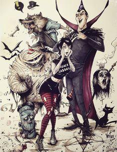 Hotel Transylvania by Marcelo Ventura. Cartoon Kunst, Comic Kunst, Cartoon Art, Comic Art, Dark Disney, Evil Disney, Dark Fantasy Art, Fantasy Kunst, Disney Horror