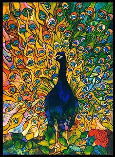 Inspired by the elaborate pictorial windows of Tiffany Studios, Century Studios windows often include plated layers of glass which create colors and textures that do not exist in a single sheet of glass. Facial features in figural work are hand painted with powdered minerals and kiln-fired to become part of the surface of the glass. Tiffany Peacock - Created in 1995