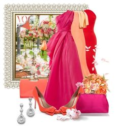 """""""It Is Coral Line Up"""" by the-house-of-kasin ❤ liked on Polyvore featuring Zac Posen, Christian Siriano, Ted Baker, Monique Lhuillier, Paul Andrew, wedding, bridal, weddings and gownsgalore"""