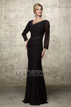 Sheath/Column Asymmetrical Floor-length Chiffon Mother Of The Bride Dress