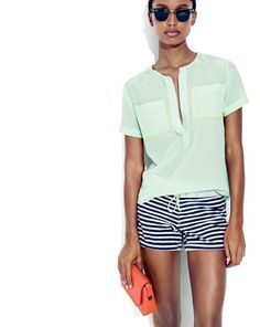 Throw on a J.Crew piped silk tee to effortlessly upgrade your picnic outfit.