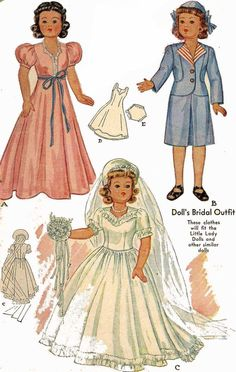 Doll Clothes PATTERN 1089 for Little Lady Anne Shirley dolls Bridal Gown Suit #McCalls