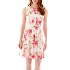 Studio 1® Sleeveless Floral Print Crochet Lace Fit-and-Flare Dress  found at @JCPenney