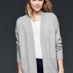 NWT 100% Cashmere open cardigan The softest cashmere in classic styling!  Light gray Gap open cardigan with pockets.  100% CASHMERE!  Size on the tag is M/L.  NWT and just beautiful! GAP Sweaters Cardigans