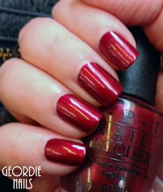 Geordie Nails: OPI ~ I'm Not Really A Waitress - I accidentally skipped yesterday, I was busy and was not able to post, so today I have a pretty polish to show you. I believe this polish is part of the core line, and it is a classic shimmery red. Two coats, no topcoat.