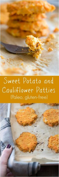 Sweet Potato and Cauliflower Patties - a Paleo and gluten-free side dish recipe on Thriving On Paleo