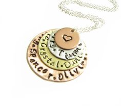 Mixed Hand Stamped Necklace sterling silver by JSCJewelry on Etsy, $45.00