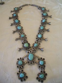 Massive Vintage NAVAJO Sterling Silver & Turquoise SQUASH BLOSSOM Necklace, 368g