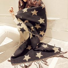 Star double sided winter scarf Can be worn on either side as shown in second and third picture. Warm and soft. Great quality scarf. Size is 78 by 27 inches Accessories Scarves & Wraps