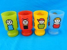 Vintage Fisher Price Play Family Little People Juice Glasses Complete Set VGC | eBay