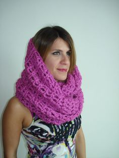 Funky Handmade Hot Pink Crochet Infinity Scarf / Cowl