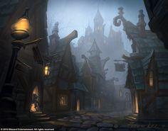 I love Gilneas so much. Dark Fantasy Art, Fantasy City, Fantasy Places, Fantasy World, Dungeons And Dragons, Art Warcraft, Pen & Paper, Wow Art, Environment Design