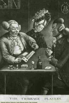 THE CRIBBAGE PLAYERS Pub Jany 4th 1773 by W. Humphrey St. Martins Lane Two men sit across from each other at a table with a woman between them at the table's end, looking on as they play cribbage. The figure on the right may be a gamester since he seems to have the most coin and cards on the table beside him. He is showing the two of clubs and moving a peg as the second man looks on in dismay. He appears to have little left with which to play, only a couple cards and one coin. Both men wear…