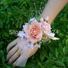 coral Wrist Corsages for Weddings | Super large artificial silk peony flowers bunch/ bouquet with 5big ...