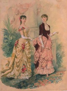 1883. Evening and dinner dress, La Mode Illustree.