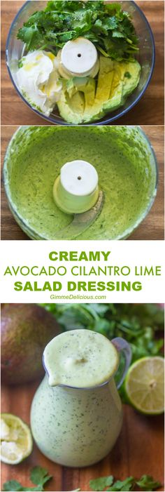 Healthy Creamy Avocado Cilantro Lime Dressing Gimme Delicious @ INSTRUCTIONS Place all the ingridents In a food processor or blender. Process until smooth, stopping to scrape down the sides a few times. Thin the salad dressing out with about ⅓ cup water Avocado Cilantro Lime Dressing, Lime Salad Dressing, Cilantro Lime Sauce, Salad Dressing Container, Cilantro Lime Vinaigrette, Green Goddess Dressing Recipe Avocado, Avocado Salad Dressings, Greek Yogurt Salad Dressing, Vegan Avocado Dressing