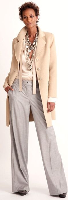 St. John 2013  =  Love it all ... the coat, the pants, the jewelry