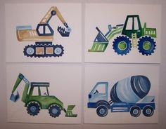 Construction Vehicles cars trucks busy builder nursery kids art set of 4 prints on Etsy, $20.00