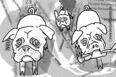 Ein ganzes Rudel? Warum auch nicht! #Schweinehunde #Piglet #Ferkel #Hund #Dog #Illustration