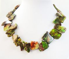 Green Brown Variscite Necklace, Green Freeform Slab Necklace, Top Drilled Chunky Irregular Slice Spear Stone, Gold Beaded Statement Necklace