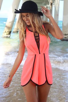 Coral #fashion #chic #romper I want this asap with the hat!