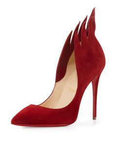X34ZK Christian Louboutin Victorina Flame 100mm Red Sole Pump, Carmine