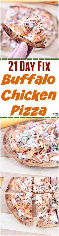 Chicken 21 Day Fix Pizza 21 Day Fix Pizza! This 21 day fix buffalo chicken pizza tastes amazing and includes container counts in the Day Fix Pizza! This 21 day fix buffalo chicken pizza tastes amazing and includes container counts in the recipe! Fixate Recipes, Healthy Diet Recipes, Pizza Recipes, Baby Food Recipes, Chicken Recipes, Cooking Recipes, Healthy Eating, Paleo Diet, Vegan Recipes
