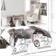 bepoe - 100% Cotton 4pcs Paris Vintage Gray Full Double Size Duvet Quilt Cover Set Eiffel Theme