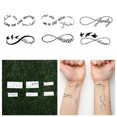 Infinity Symbol Set  Temporary Tattoo Set of 6 by Tattify on Etsy, $15.00  Great way to try on a tat in different places without commitment.