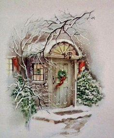 me ~ Vintage Christmas Snowy Doorway Scene Graphic Image Art Fabric Block Doodaba Vintage Christmas Images, Old Christmas, Christmas Scenes, Retro Christmas, Christmas Pictures, Christmas Crafts, Christmas Decorations, Christmas Ornaments, Christmas Night
