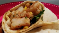 Shrimp Burrito .  Shrimp w/ sweet kale, honey corn & a grande burrito wrap.  Quick & easy summer meal.  ; -  )
