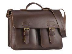 Ruitertassen Schultasche Lehrertasche mit 2 Fächern (A4 Format) 2 Vortaschen, Tragegriff und Schultergurt - Farbe dunkelbraun