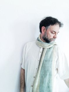 Striped+scarf++in+sage+green+and+white+by+TheWovenSheep+on+Etsy,+€65.00