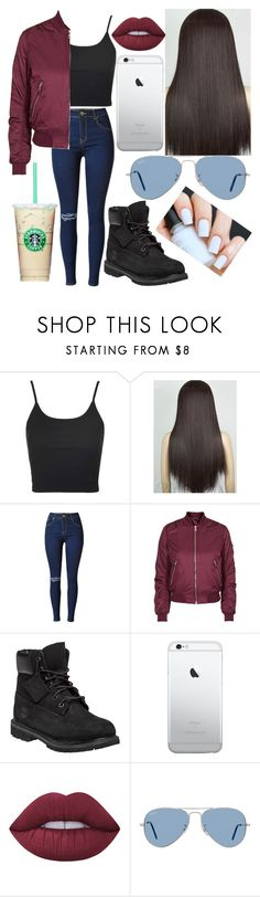 """Untitled #239"" by lovealysah2 ❤ liked on Polyvore featuring Topshop, Timberland, Lime Crime and Ray-Ban"