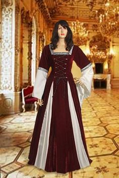 Gothic Style Dress No. 15 Red, White - 178.00USD - Medieval and Renaissance Clothing, Handmade by Your Dressmaker